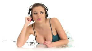 sexy girl listen to music
